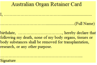 organ retainer card