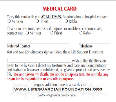 Medical aid card by the Life Guardian Foundation